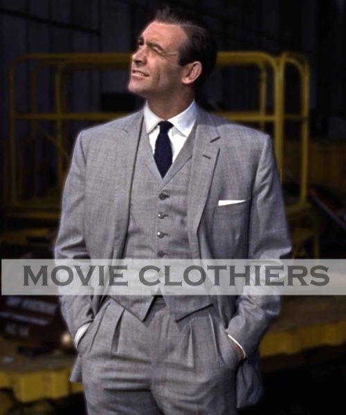 Sean Cnnery Grey Suit James Bond Three Piece Suit Goldfinger