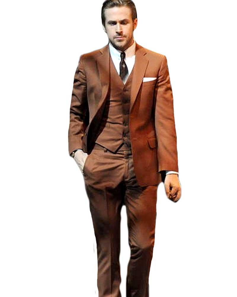 Ryan Gosling Brown Suit - La La Land Three Piece Suit