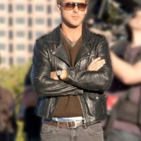 Black Ryan Gosling Song to Song Leather Jacket