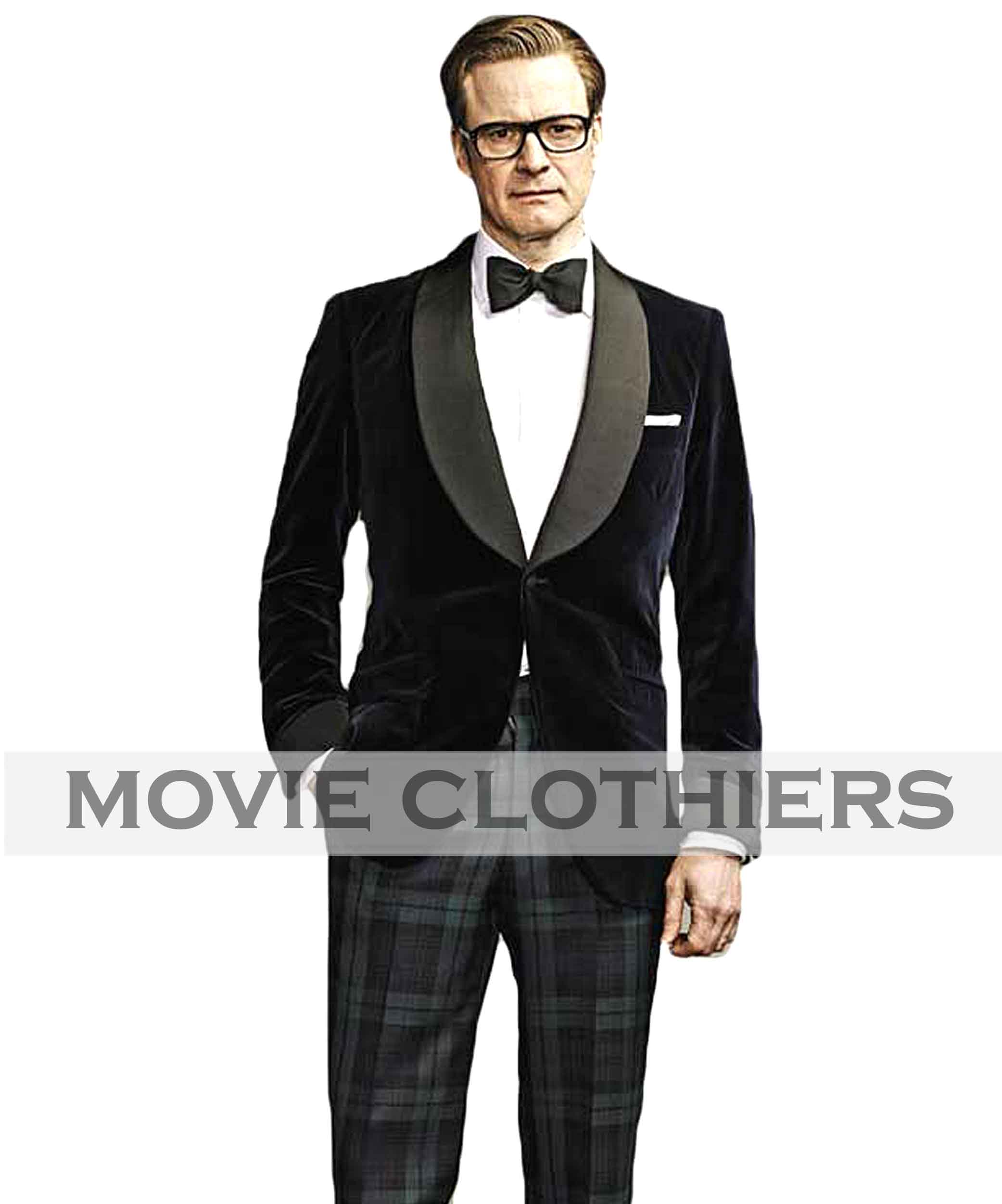 02366e80905 Colin Firth Kingsman Tuxedo: Harry Hart Blue Velvet Smoking Jacket