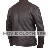 captain america brown leather motorcycle jacket