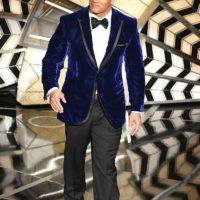 dwayne johnson blue velvet suit