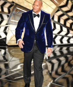 dwayne johnson blue velvet suit