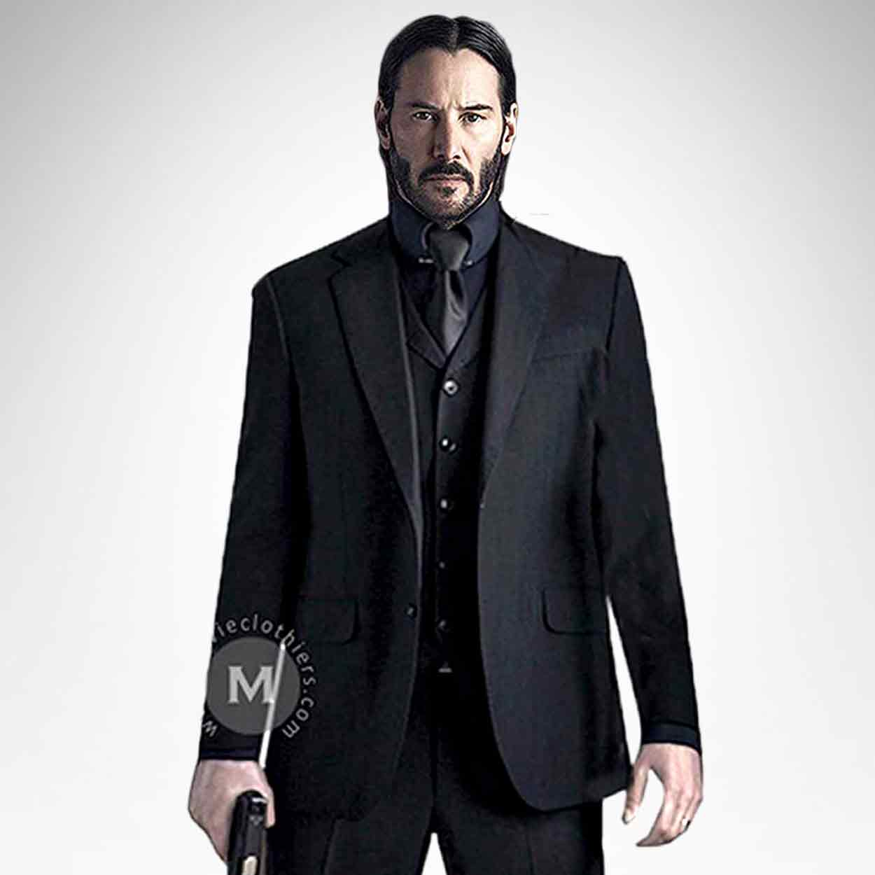 Keanu Reeves John Wick Suit Black 3 Piece Suit