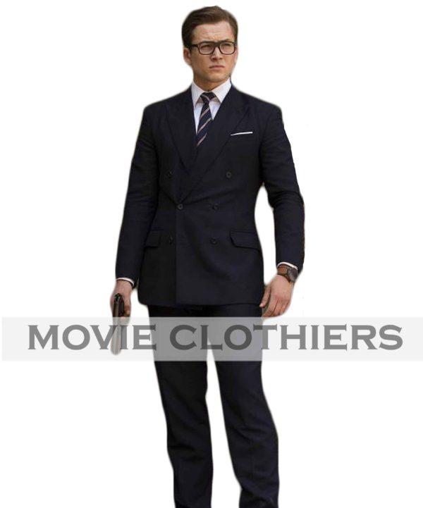 the kingsman 2 suit eggsy taron egerton double breasted suit