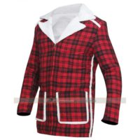 deadpool shearling jacket red glen plaid coat