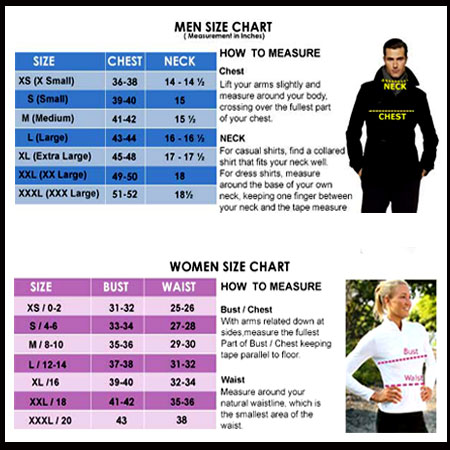 Mens Women Jacket Size Chart