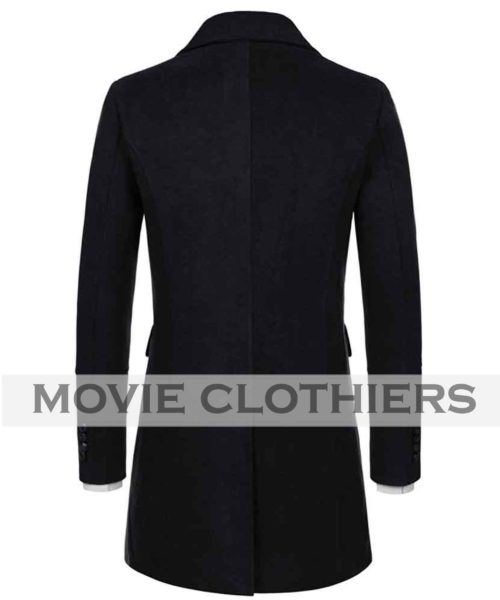 Black james bond spectre trench coat Longcoat