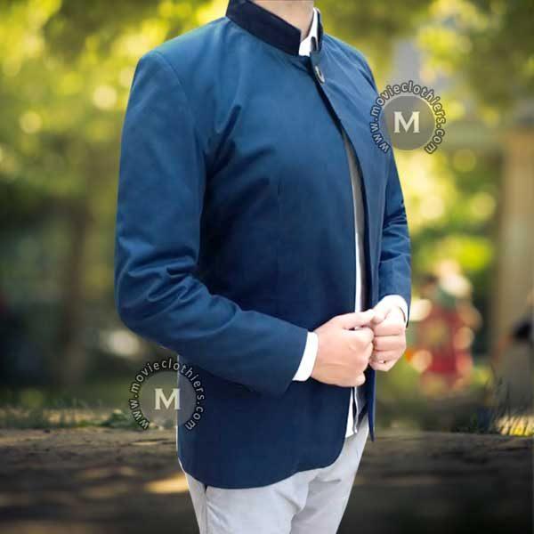 Blue nehru jacket coat