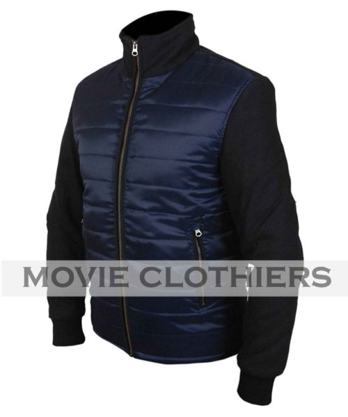 spectre knitted sleeve bomber jacket