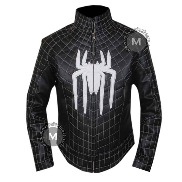 black spiderman venom leather jacket