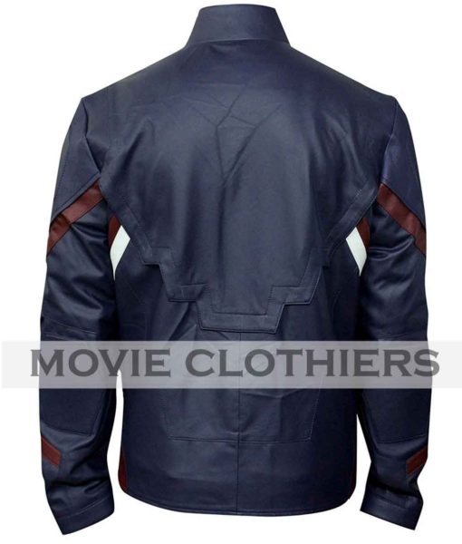 chris evans blue leather jacket