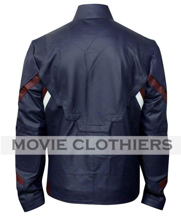 chris evans blue leather jacket