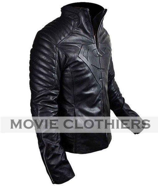 superman black leather jacket