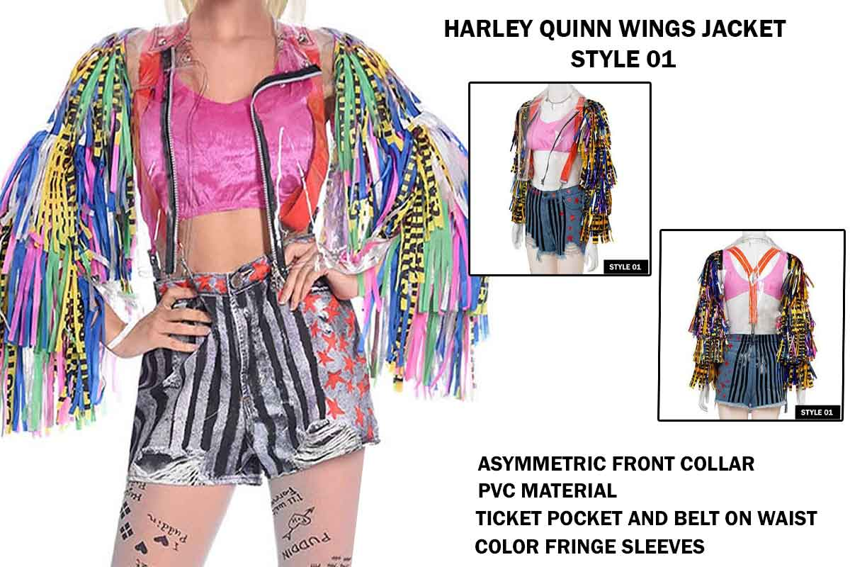 Harley Quinn Birds Of Prey Jacket Caution Wings Jacket