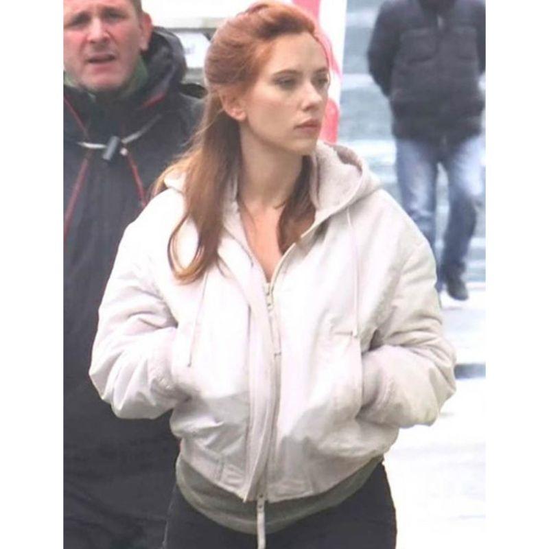 Black Widow White Hooded Jacket
